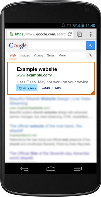Flash warning Google search Android